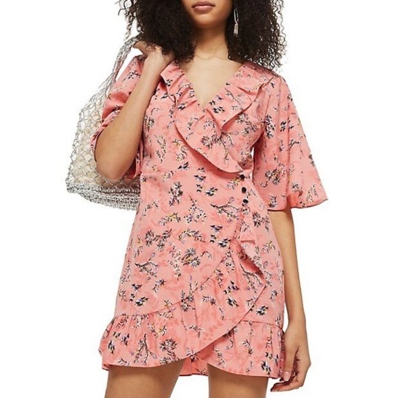 TopShop Ruffle Tea Dress Wrap Style Short Sleeve 6